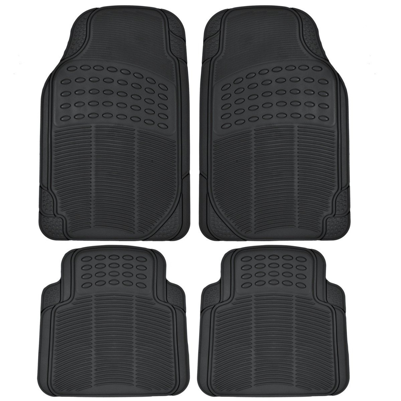Vanilla Black 2 Piece BDK All Weather Heavy Duty Durable Rubber Rear Only Mats