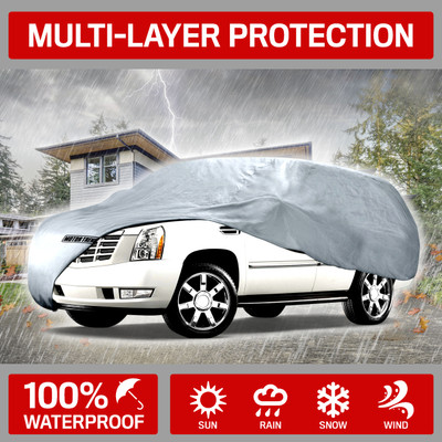 Water Resistant Car Cover Size M-Fits up to 170-Inch Motor Trend OC-542 All Season Weather Wear 1-Poly Layer Snow Proof
