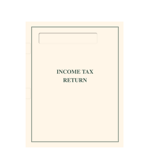 TABFLDP10 - Side Staple Income Tax Return Folder with Pocket and Window