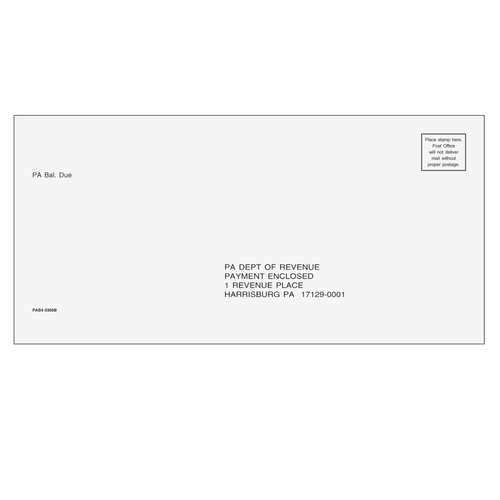 PAB410 - PA Balance Due Envelope