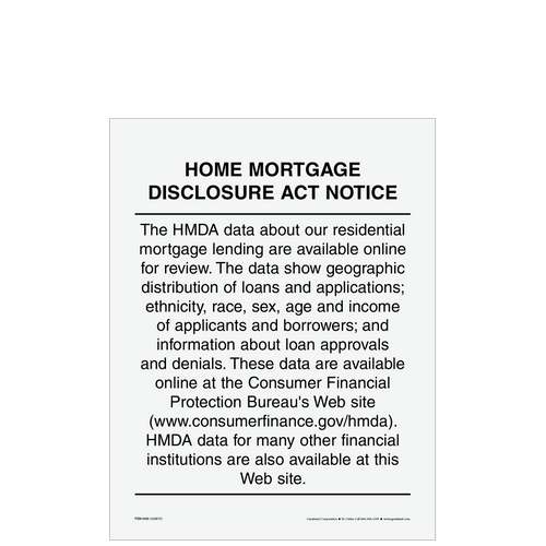 8458 - Home Mortgage Disclosure Act Notice