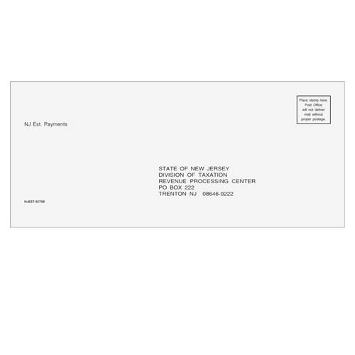 NJEST10 - NJ Estimate Envelope 3 7/8 x 8 7/8