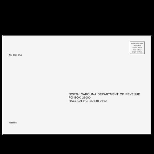 NCB610 - Balance Due/Efile Envelope - North Carolina