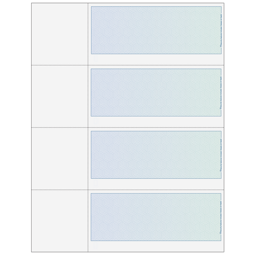 80685 - Premier Blank 4up Personal Check with Herringbone Background