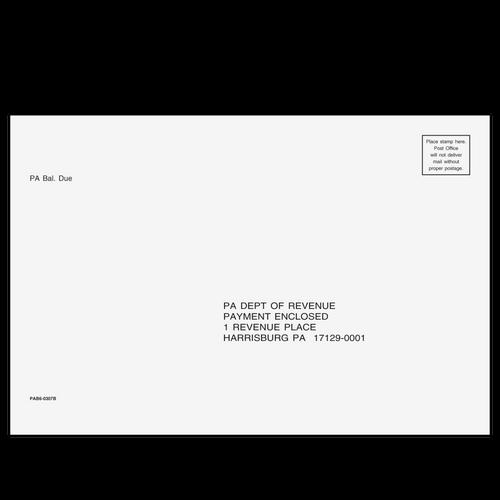 PAB610 - Balance Due/Efile Envelope - Pennsylvania