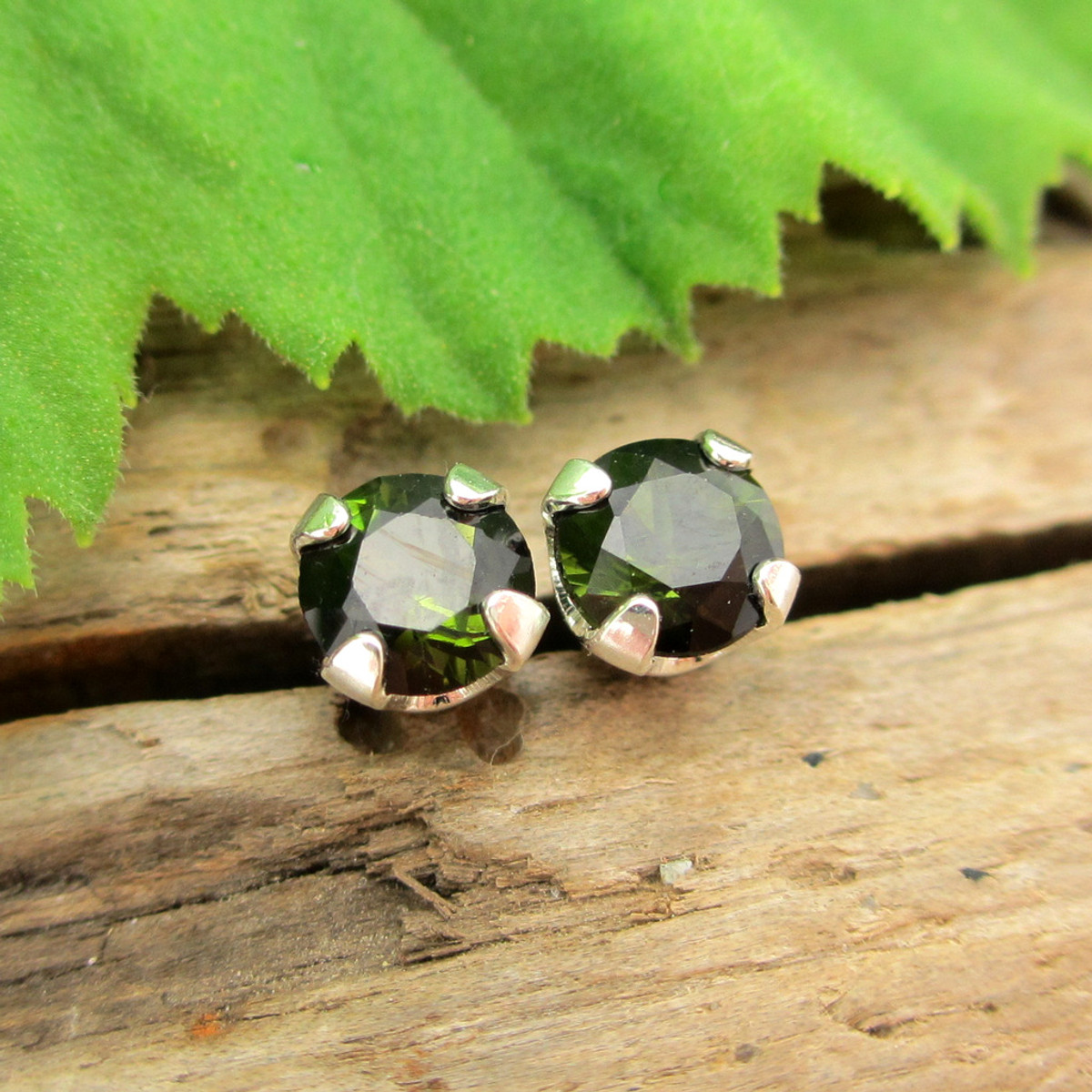 e3cb97735 Black Green Tourmaline Studs | Platinum, Gold, or Silver