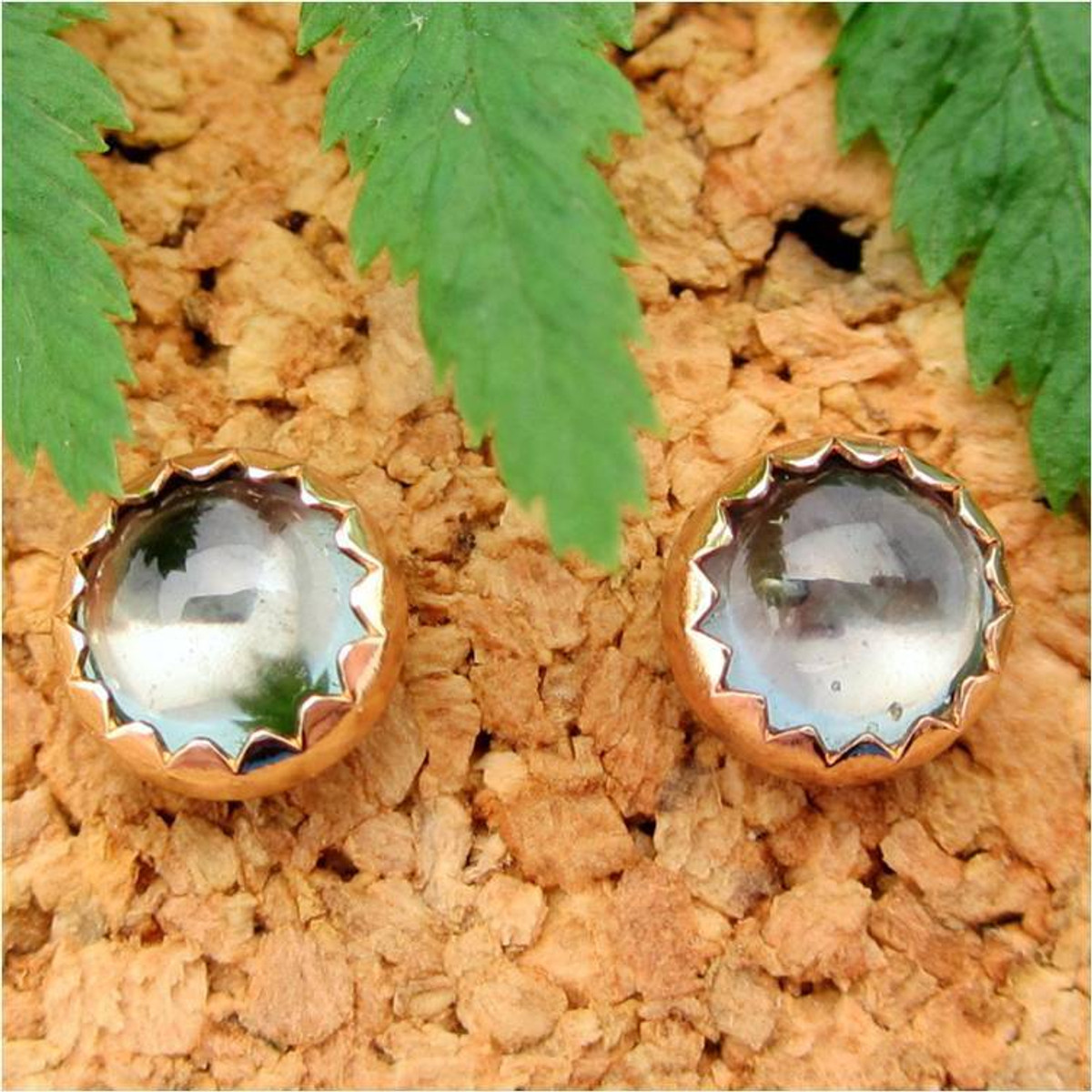 Gold Montana Sapphire Cabochon Stud Earrings, Limited Edition