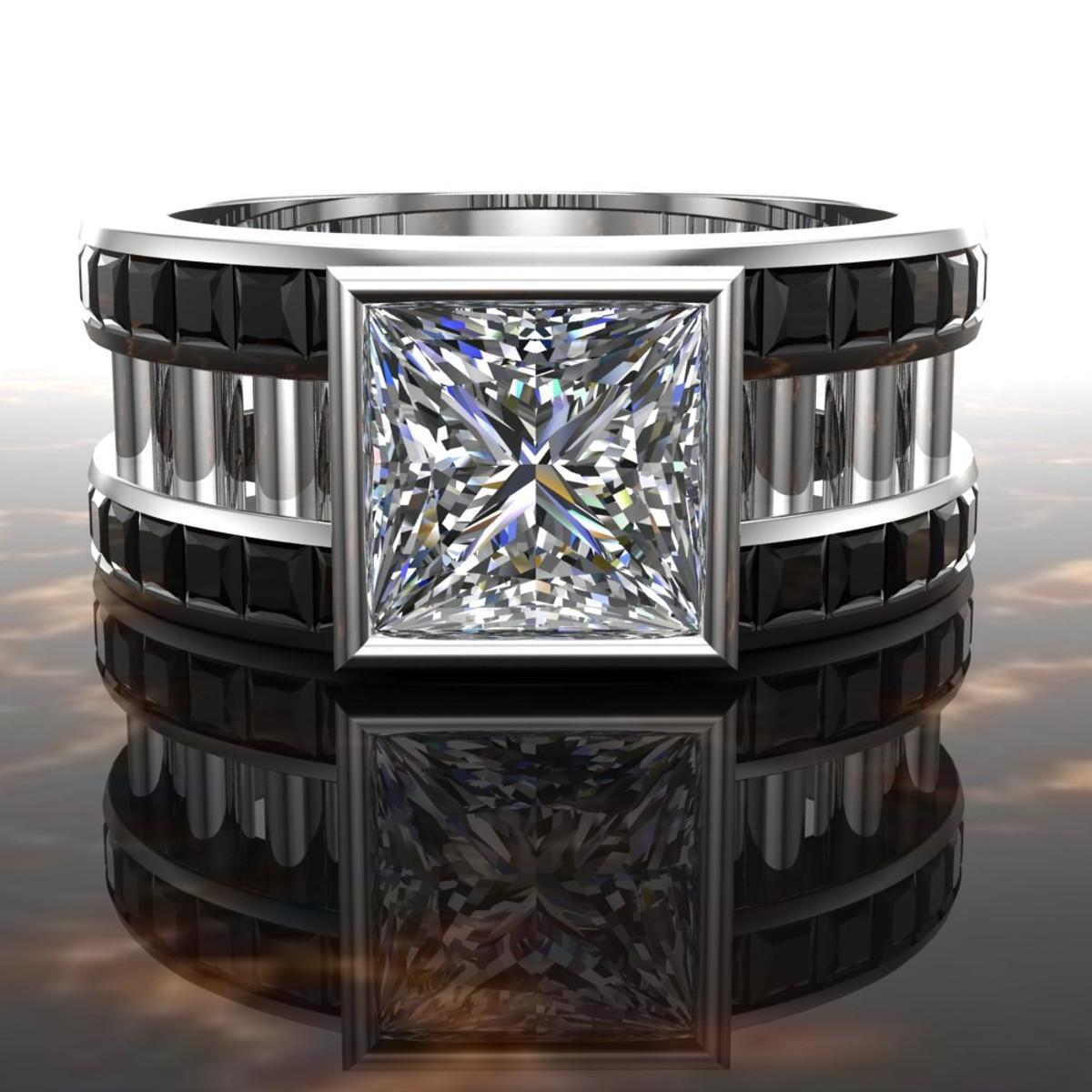 White Collar Black Tie Men's Engagement Ring 2 Ct Square Diamond: 2 Karat Wedding Rings For Him At Websimilar.org