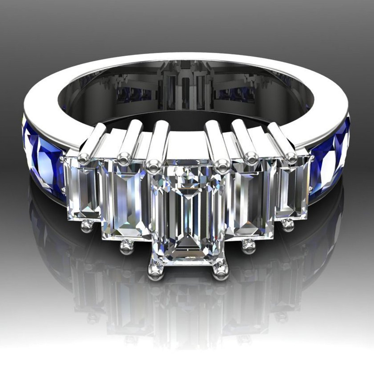 Diamond Engagement Ring 5 Stone With Emerald Cut And Baguette Diamonds And Blue Sapphire Accents Cityscape Design