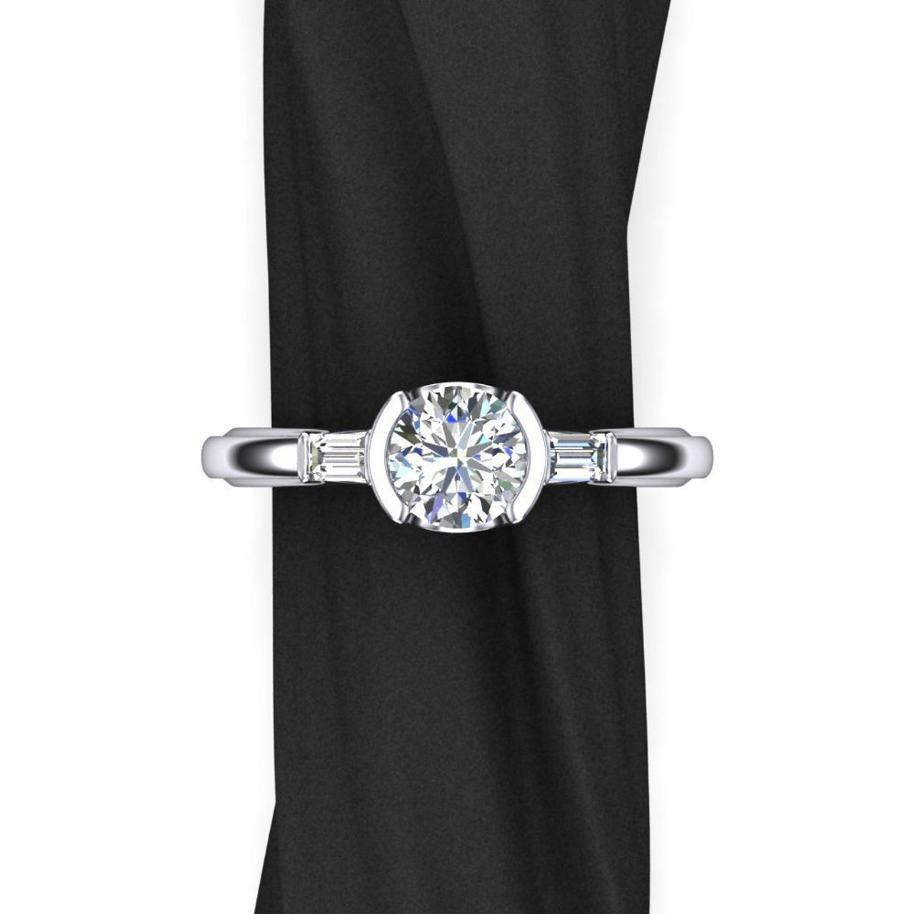 One Carat Diamond Engagement Ring 3 Stone Design With Baguette Side Diamonds And Half Bezel Setting
