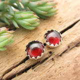 Burgundy garnet cabochon stud earrings