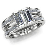Men's Gay Engagement Ring, Two Stone Diamond Ring Double Band overhead view