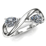 Two stone infinity diamond engagement ring