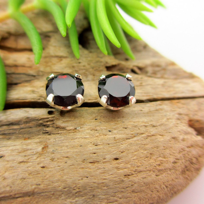 Black garnet stud earrings