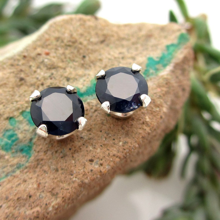 Black Sapphire Gemstone Stud Earrings
