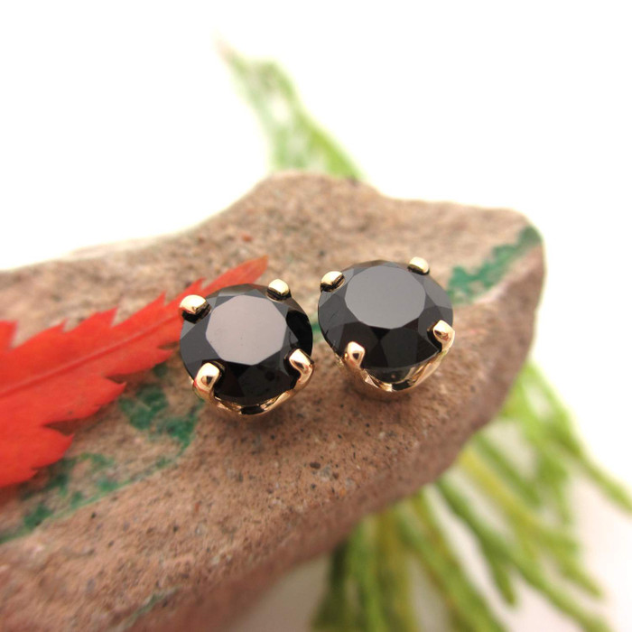 Black Spinel Stud Earrings