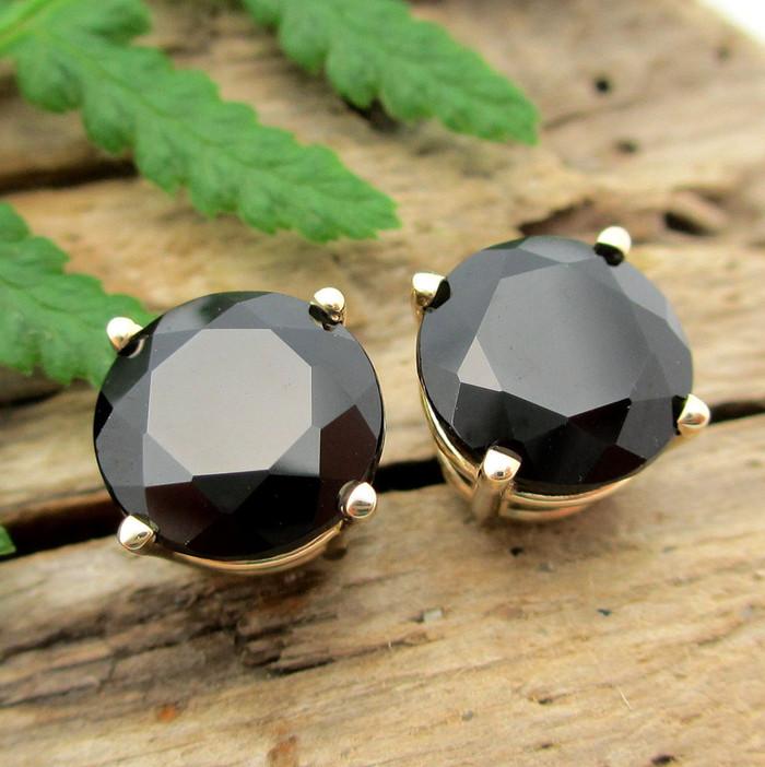 Black Spinel Studs | 14k Gold, Platinum, Sterling Silver Earrings
