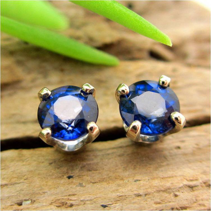 Blue Sapphire Stud Earrings | Enhanced