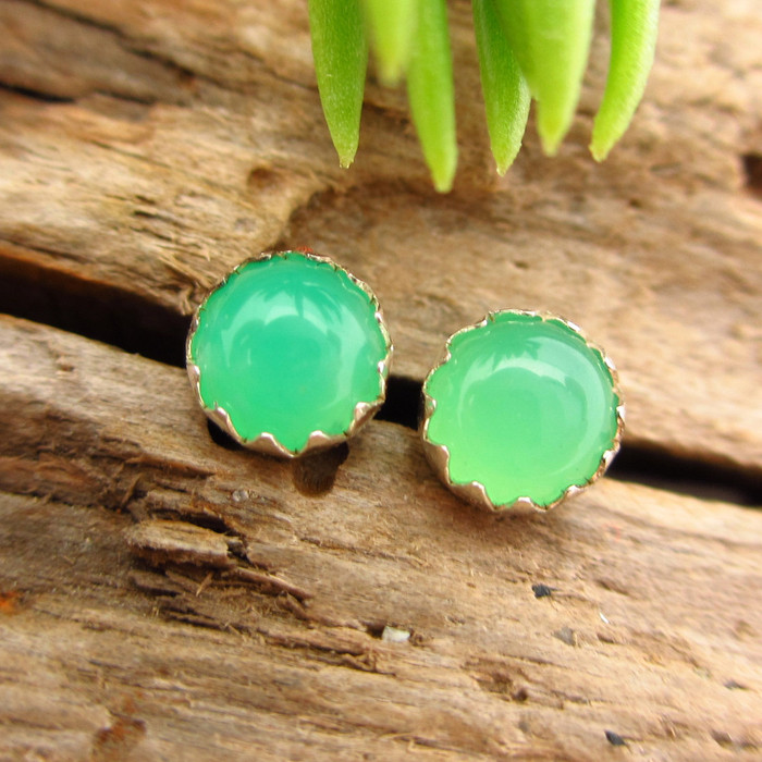 Chrysoprase Cabochon Stud Earrings, B Quality