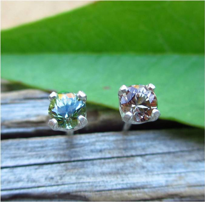 Color Shift Sapphire Stud Earrings