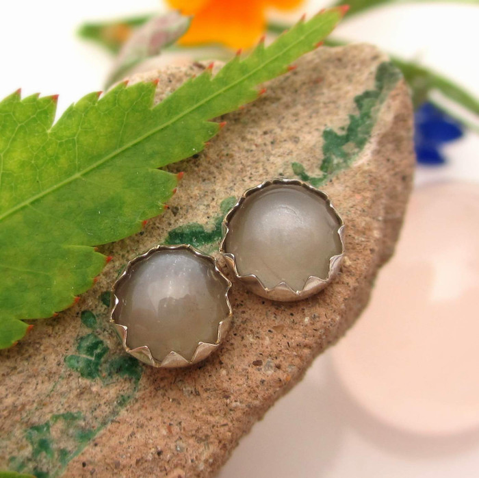Gray moonstone stud earrings in sterling silver