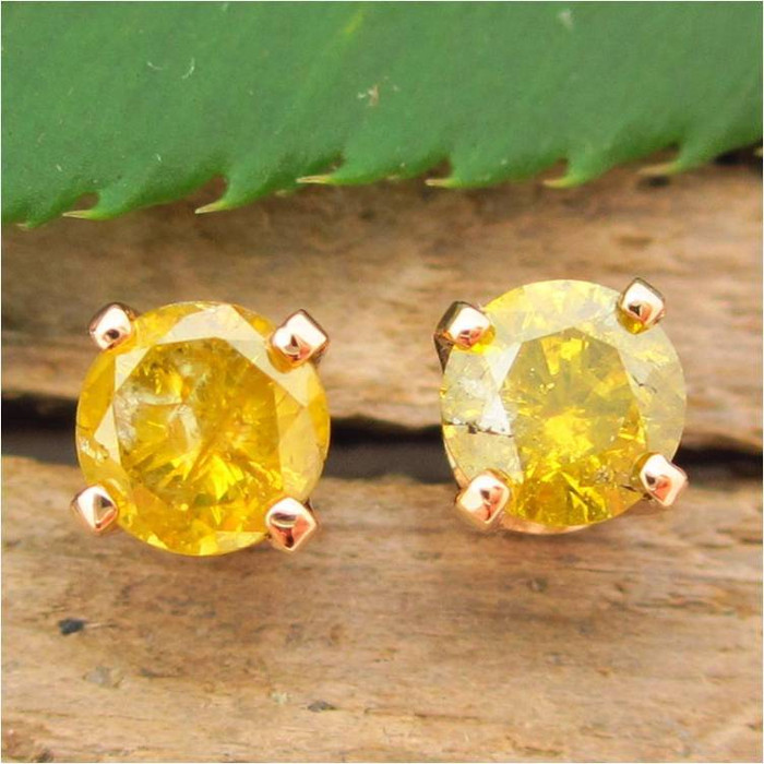 Greenish Yellow Diamond Stud Earrings, Small 4.1mm, , Limited Edition