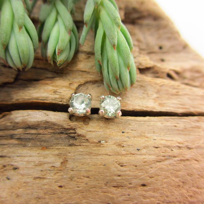 Montana Sapphire Stud Earrings Light Green