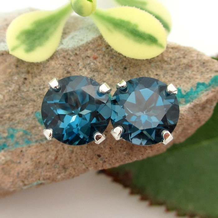 London Blue Topaz Stud Earrings in 14k White Gold