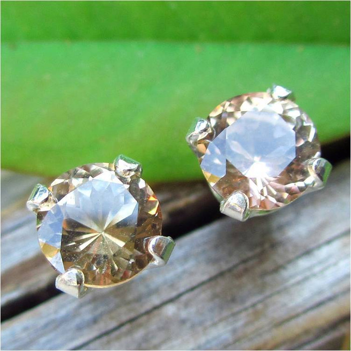 Medium Tan Topaz Stud Earrings