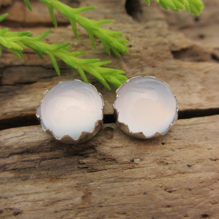 Serenity Blue Chalcedony Cabochon Stud Earrings