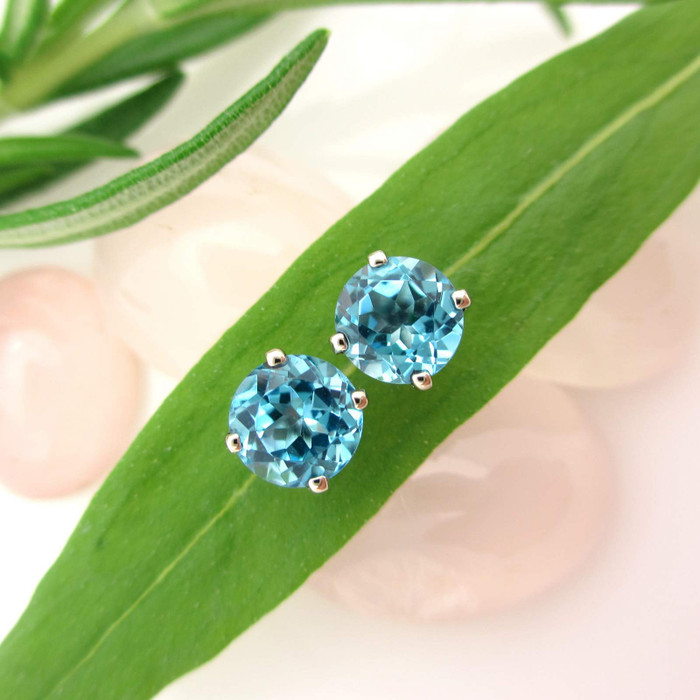 Swiss Blue Topaz Stud Earrings in 14k white gold