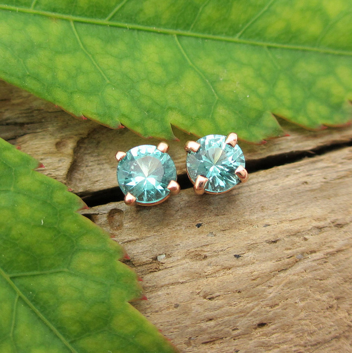 Turquoise Blue Tourmaline Stud Earrings, Small 4mm, Limited Edition