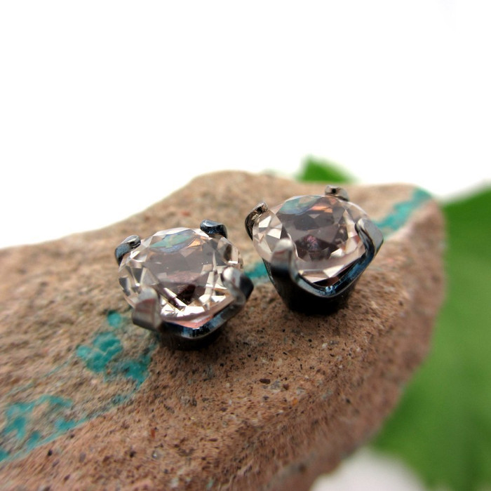 Black Silver Stud Earrings | White Topaz | Rainbow Patina