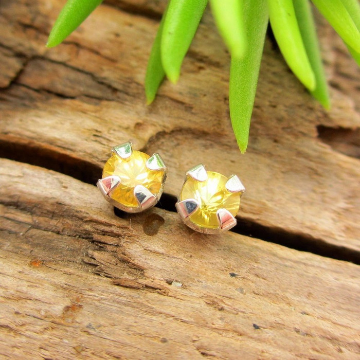 Yellow Sapphire Stud Earrings
