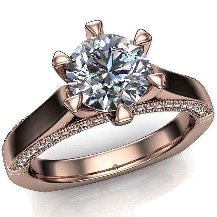 Diamond Engagement Ring | 1 Carat Round | Bold, Modern overhead view