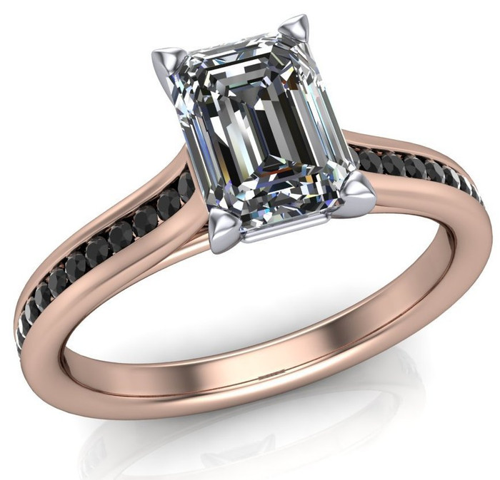 Black Channels Cathedral Ring | Emerald Cut 1ct Diamond