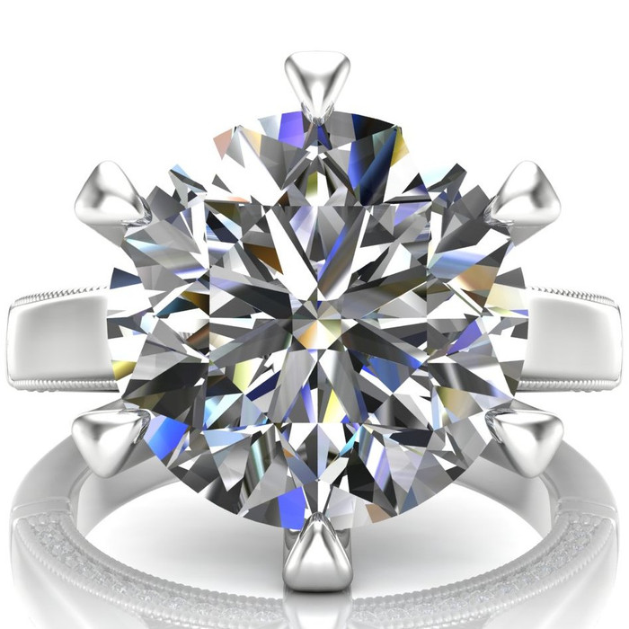 4 Carat Diamond Engagement Ring, Cathedral Set with Claw Prongs