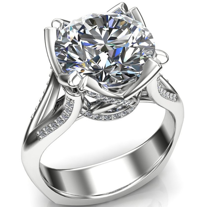 4 Carat Diamond Engagement Ring in Fancy Cathedral Band