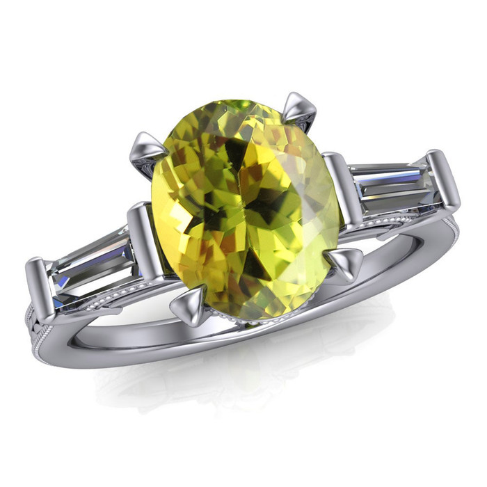Gemstone Ring | Oval 1.5+ Carat Chartreuse Tourmaline