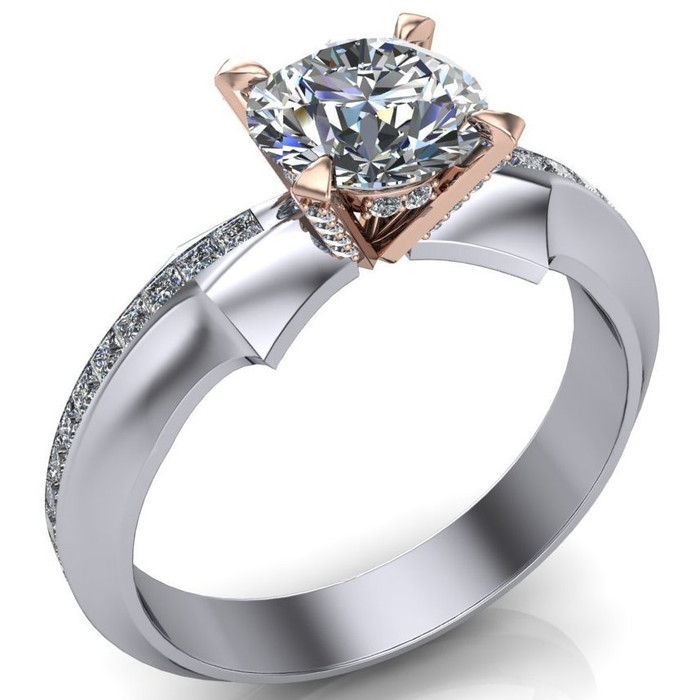 Martini Arrow Engagement Ring | Round 1ct Diamond