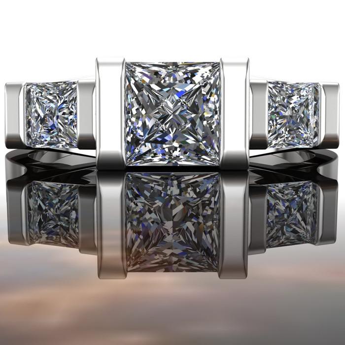 Modern 3 Stone Engagement Ring | Princess .75+ ct Diamonds