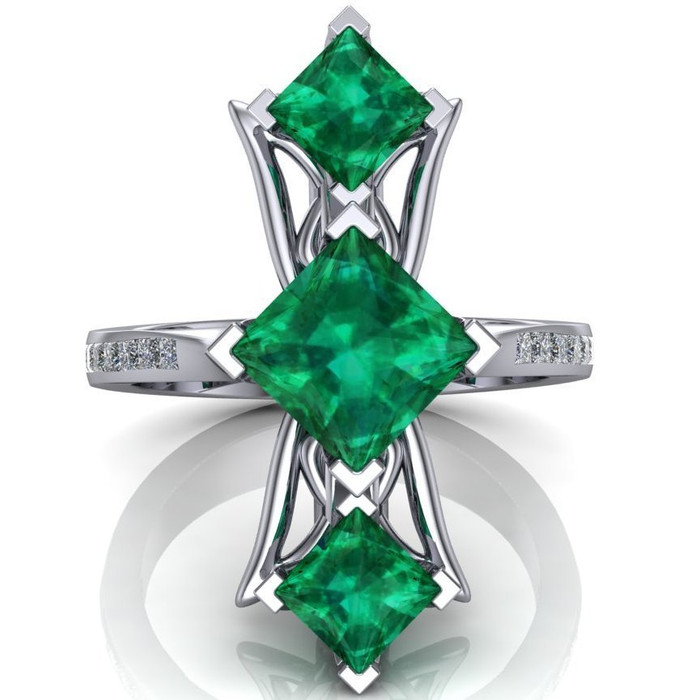 Red Carpet Royalty Art Ring | Princess Cut Emeralds