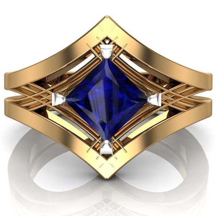 Royal Colors Art Deco Engagement Ring | Blue Sapphire