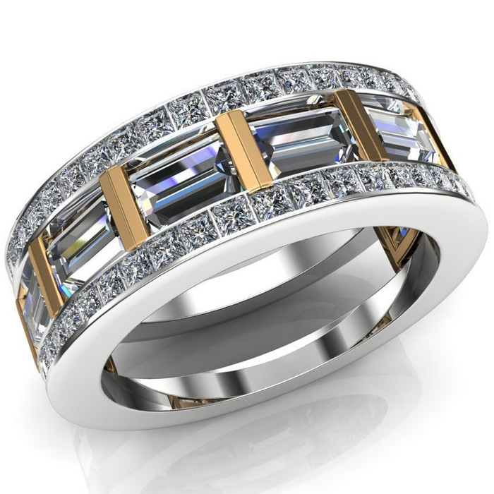 Gay Engagement Ring, Men's Ring with Caged Baguette Diamonds, Two Tone overhead view