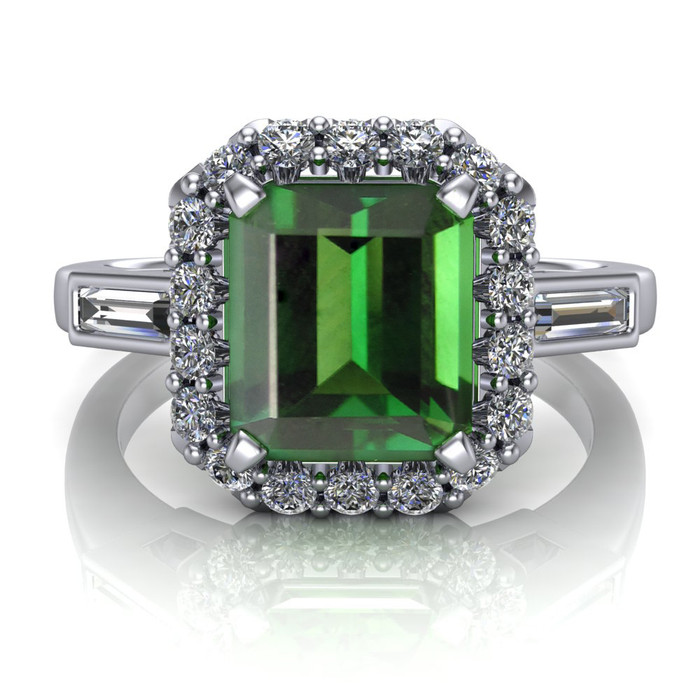 Gemstone Halo Ring | Emerald Cut 1.5ct Green Tourmaline