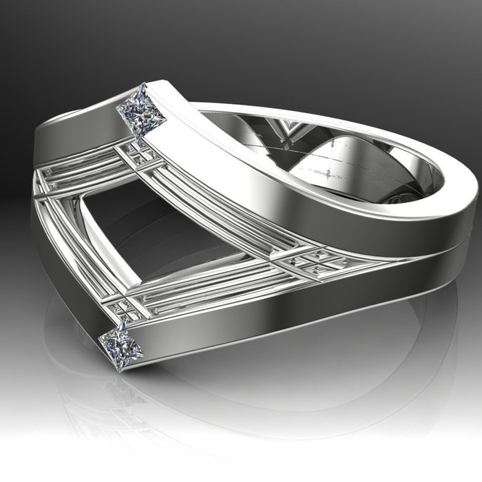Art Deco Ancient Geometry Men's Engagement Ring