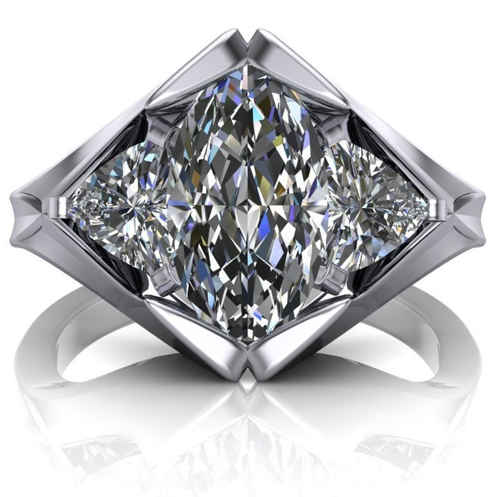 Diamond Peak Engagement Ring | Marquise 1.5ct Moissanite