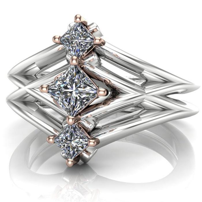Nyota | Sci-Fi 3 Stone Princess Diamond Engagement Ring