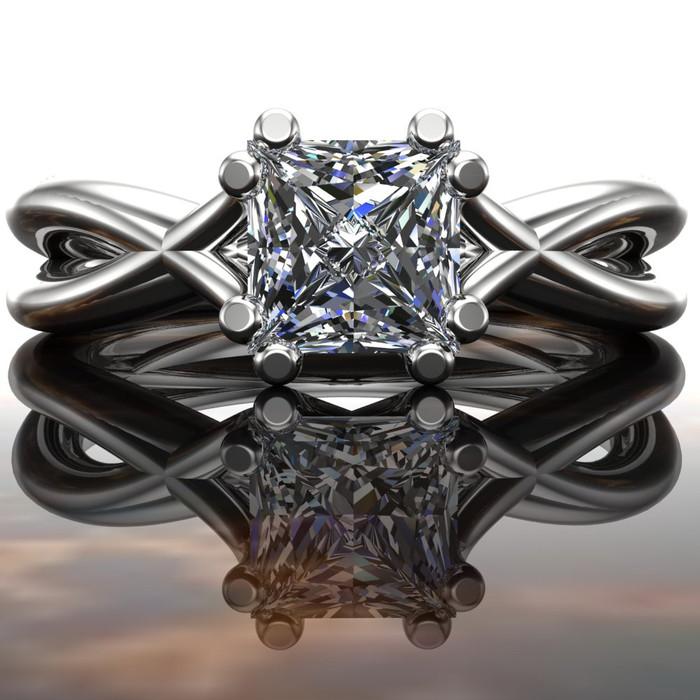 Nakia | Split Band Engagement Ring | Princess 1/2ct Diamond