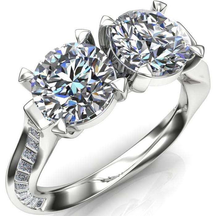 Infinity Twist 2 Stone Engagement Ring | Round 2ct Diamonds